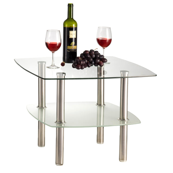 Fineboard Glass Coffee Table / Side Table  2 Tier, Glass Top and Silver Metal Legs