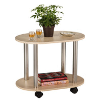Fineboard Ovel Coffee Table / End Table with Casters with 2 Shelves, Nature