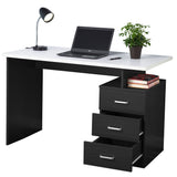 Fineboard Home Office Desk with 3 Drawers, Black/White