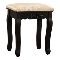 Fineboard Luxury Vanity Table Stool Wood Unique Shape Floral Crafted for Vanity Tables or Other Extravagant Tables with Artwork, Black