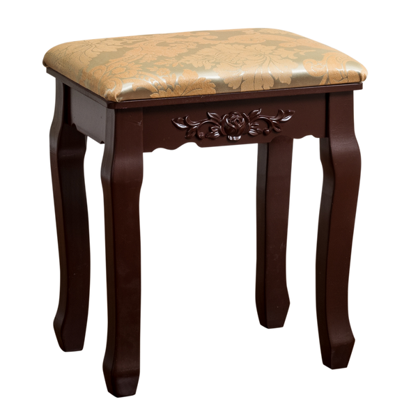 Fineboard Luxury Vanity Table Stool Wood Unique Shape Floral Crafted for Vanity Tables or Other Extravagant Tables with Artwork, Brown