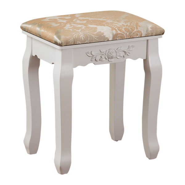 Fineboard Luxury Vanity Table Stool Wood Unique Shape Floral Crafted for Vanity Tables or Other Extravagant Tables with Artwork, White