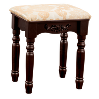 Fineboard Luxury Vanity Stool Makeup Dressing Stool Pad Cushioned Chair for Vanity Tables and Bedroom, Brown