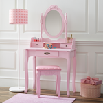 Fineboard Vanity Table Set Wooden Dressing Table with Single Mirror, Organization Drawers Makeup Table and Stool, Pink