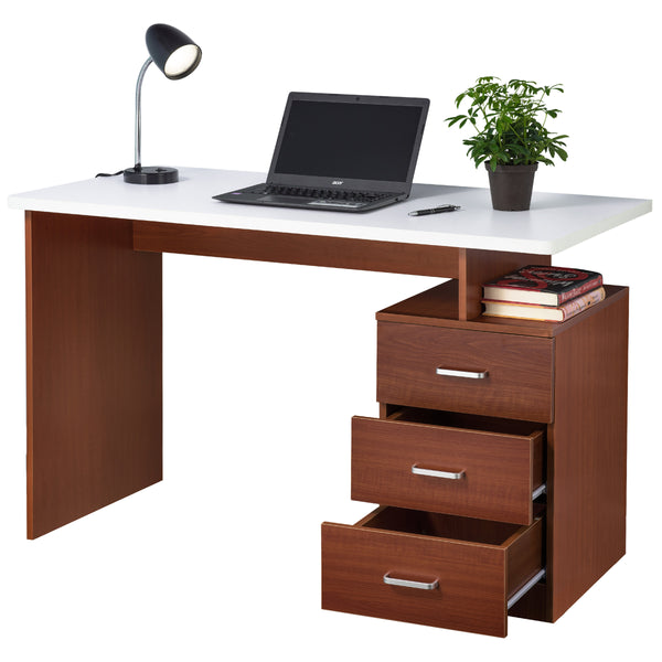 Fineboard Home Office Desk with 3 Drawers, Red Walnut/White