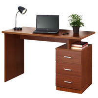 Fineboard Home Office Desk with 3 Drawers, Red Walnut