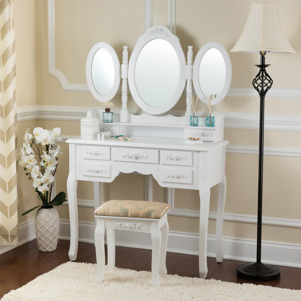 Fineboard Vanity Set with Stool Makeup Table with Seven Organization Drawers 3 Oval Mirrors, White