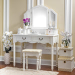 Fineboard Wooden Vanity Set, Dressing Table with 3 Mirrors and Stool, Four Drawer Make up Table, White