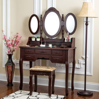 Fineboard Vanity Set with Stool Makeup Table with Seven Organization Drawers 3 Oval Mirrors, Brown