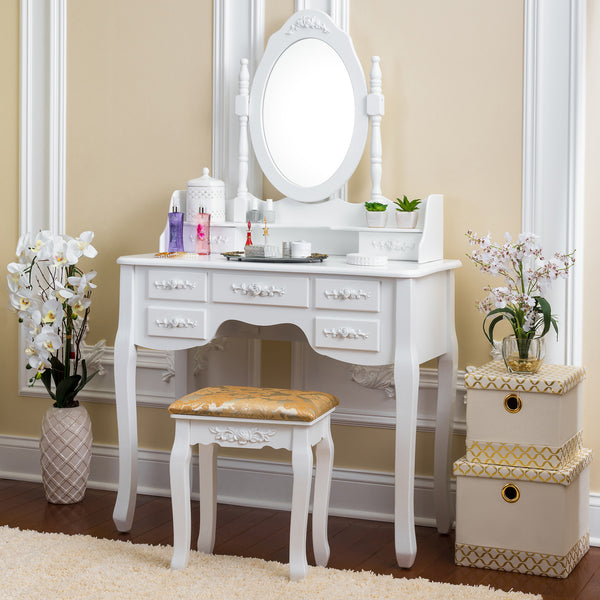 Fineboard Vanity Set with Stool Makeup Table with 7 Organization Drawers single Oval Mirror, White