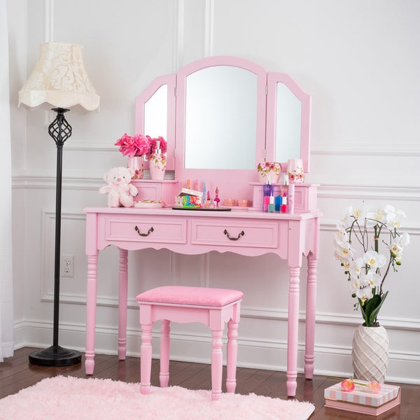 Fineboard Wooden Vanity Set, Dressing Table with 3 Mirrors and Stool, Four Drawer Make up Table, Pink