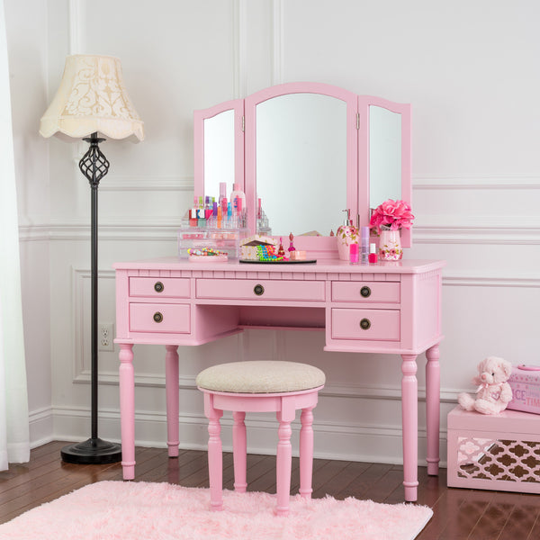 Fineboard Dressing Set with Stool, Beauty Station Makeup Table, Three Mirror Vanity Set, 5 Organization Drawers, Pink