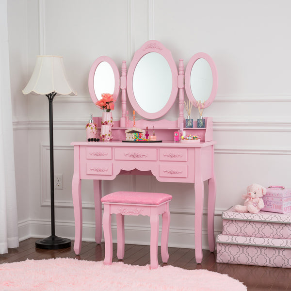 Fineboard Vanity Set with Stool Makeup Table with Seven Organization Drawers 3 Oval Mirrors, Pink
