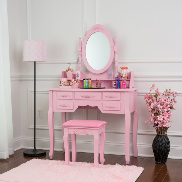 Fineboard Vanity Set with Stool Makeup Table with 7 Organization Drawers single Oval Mirror, Pink