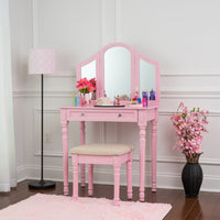Fineboard Three Mirror Vanity Dressing Table Set with Stool. Single Drawer Makeup Table and Mirror set in Wood, Pink