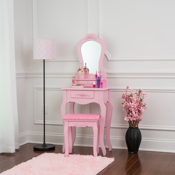 Fineboard Elegant 3 Drawer Dressing Table Set Wooden Vanity Table and Mirror Set with Stool, Pink