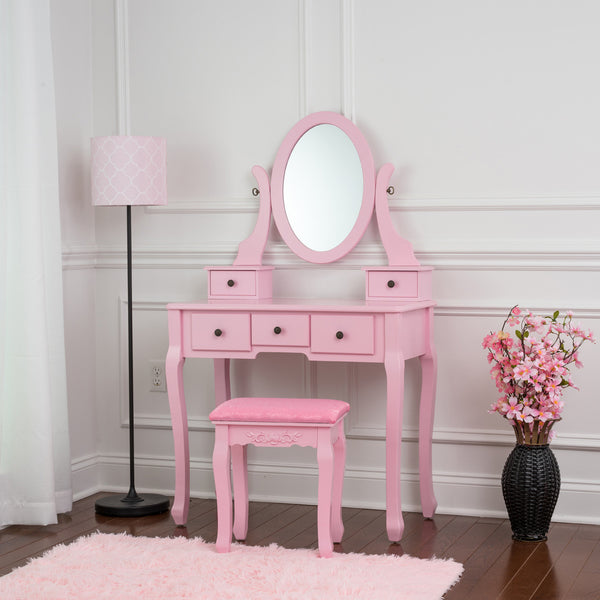 Fineboard Single Mirror Dressing Table Set Five Organization Drawers Vanity Table with Wooden Stool, Pink