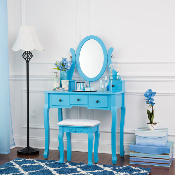 Fineboard Single Mirror Dressing Table Set Five Organization Drawers Vanity Table with Wooden Stool, Blue
