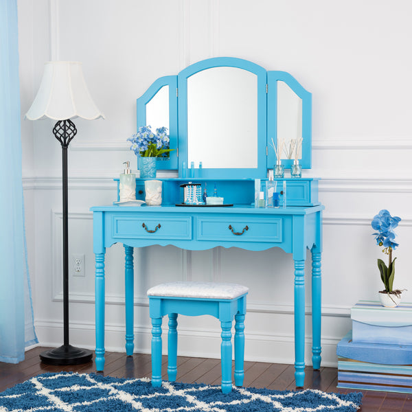 Fineboard Wooden Vanity Set, Dressing Table with 3 Mirrors and Stool, Four Drawer Make up Table, Blue
