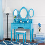 Fineboard Vanity Set with Stool Dressing  Table with Seven Organization Drawers 3 Oval Mirrors, Blue