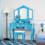 Fineboard Beauty Station Makeup Table and Wooden Stool Set with Mirrors and Organization Drawers, Blue