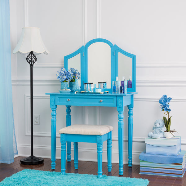 Fineboard Three Mirror Vanity Dressing Table Set with Stool. Single Drawer Makeup Table and Mirror set in Wood, Blue