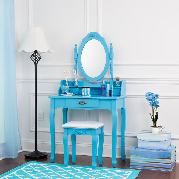 Fineboard Vanity Table Set Wooden Dressing Table with Single Mirror, Organization Drawers Makeup Table and Stool, Blue
