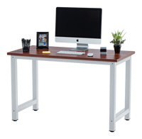 Fineboard Stylish Home Office Computer Desk Writing Table Elegant & Modern Design, Teak/White