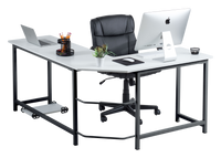 Fineboard L-Shaped Office Corner Desk Elegant & Modern Design, White/Black