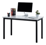 "Fineboard 47"" Home Office Computer Desk Writing Table, White + Black Legs"