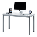 "Fineboard 47"" Home Office Computer Desk Writing Table, White + Gray Legs"