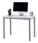 "Fineboard 39"" Home Office Computer Desk Writing Table, White + Gray Legs"