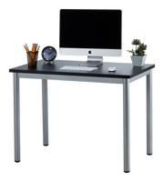 "Fineboard 39"" Home Office Computer Desk Writing Table, Black + Gray Legs"