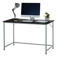 "Fineboard 47"" Home Office Computer Desk Writing Table, Black + White Legs"