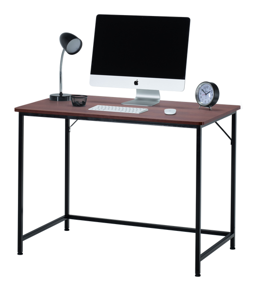 "Fineboard 39"" Home Office Computer Desk Writing Table, Teak + Black Legs"