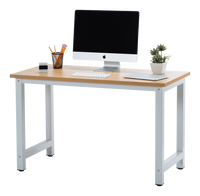Fineboard Stylish Home Office Computer Desk Writing Table Elegant & Modern Design, Beige/White