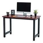 Fineboard Stylish Home Office Computer Desk Writing Table Elegant & Modern Design, Teak/Black
