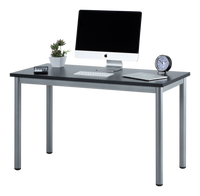 "Fineboard 47"" Home Office Computer Desk Writing Table, Black + Gray Legs"