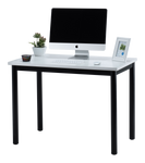 "Fineboard 39"" Home Office Computer Desk Writing Table, White + Black Legs"
