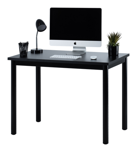 "Fineboard 39"" Home Office Computer Desk Writing Table, Black + Black Legs"