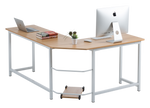 Fineboard L-Shaped Office Corner Desk Elegant & Modern Design, Beige/White