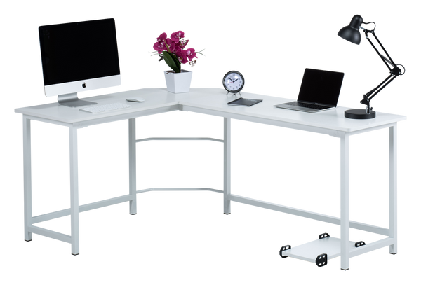 Fineboard L-Shaped Office Corner Desk Elegant & Modern Design, White
