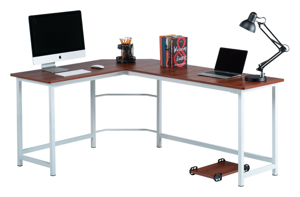 Fineboard L-Shaped Office Corner Desk Elegant & Modern Design, Red/White