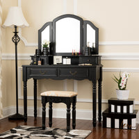 Fineboard Wooden Vanity Set, Dressing Table with 3 Mirrors and Stool, Four Drawer Make up Table, Black