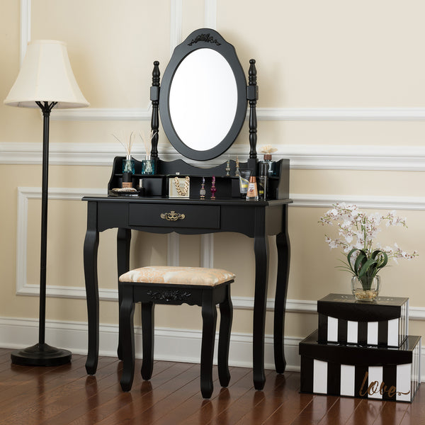 Fineboard Vanity Table Set Wooden Dressing Table with Single Mirror, Organization Drawers Makeup Table and Stool, Black