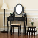 Fineboard Single Mirror Dressing Table Set Five Organization Drawers Vanity Table with Wooden Stool, Black