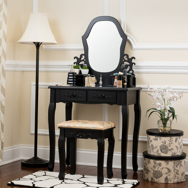 Fineboard Antique Vanity table in Wood Dressing table set with Stool 2 + 2 Organization Drawer and 1 Mirror, Black