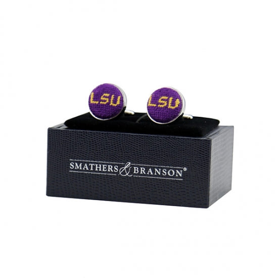 LSU Needlepoint Cufflinks - Onward Reserve