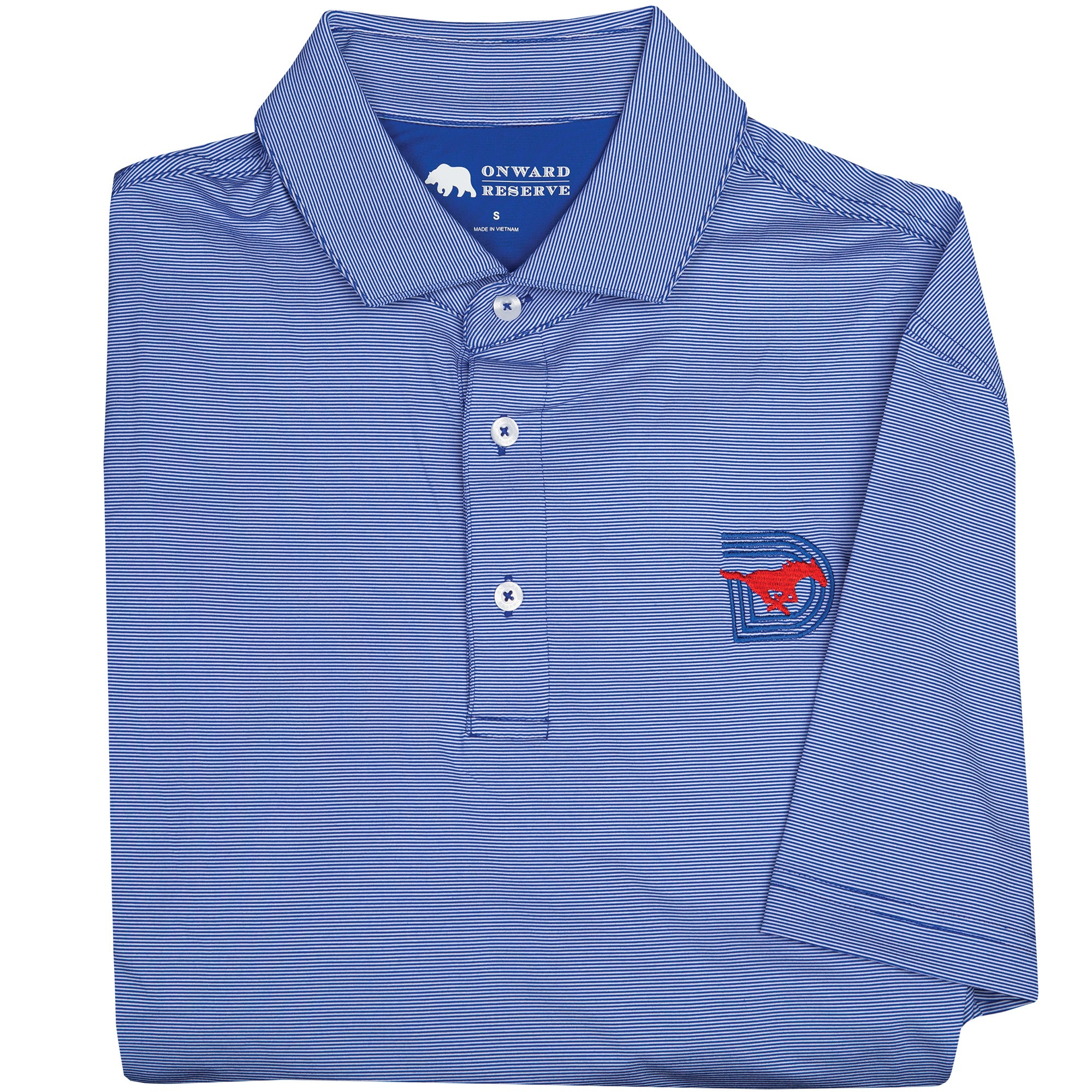 Dark Blue Hairline Stripe SMU Triple D Polo - OnwardReserve