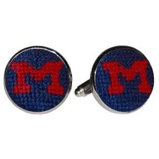 Ole Miss Needlepoint Cufflinks - OnwardReserve